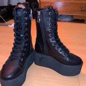 Killstar boots platforms moon cut out witchy goth